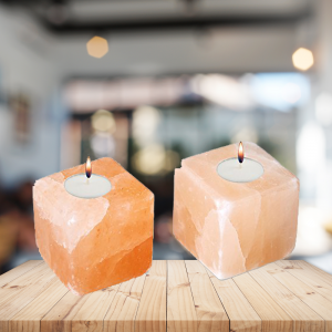 Himalayan Ionic Crystal Salt Candle holder- Hand Carved Cube