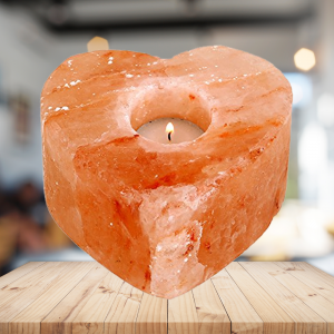 Himalayan Ionic Crystal Salt Candle holder- Hand Carved Heart