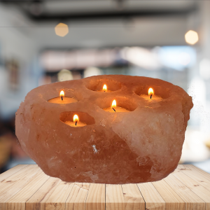Himalayan Ionic Crystal Salt Candle holder-Hand Carved 5 Candle